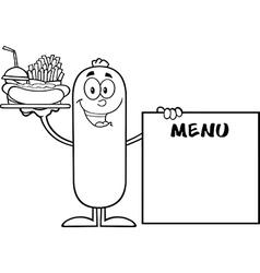 Sausage Cartoon Serving Food vector