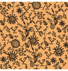 seamless ornate orange floral pattern vector image