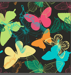 Seamless pattern with decorative butterflies in vector