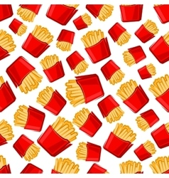Seamless takeaway boxes of french fries pattern vector image
