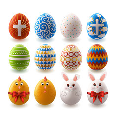 set easter painted eggs vector image