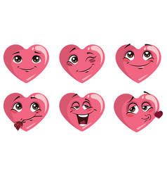 set hearts with emotions collection hearts vector image