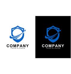 Shield ball and arrow logo template design vector