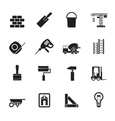 Silhouette Construction and Building icons vector