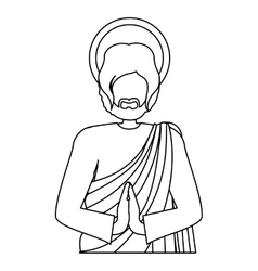 silhouette half body picture saint joseph praying vector image