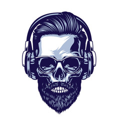 skull bearded hipster wearing headphone vector image