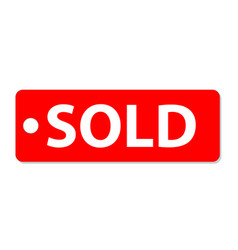 sold icon on white background sold tag sign flat vector image