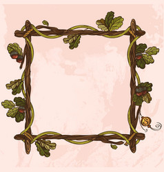 Square vintage frame of oak branches with leaves vector