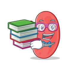 Student with book kidney mascot cartoon style vector
