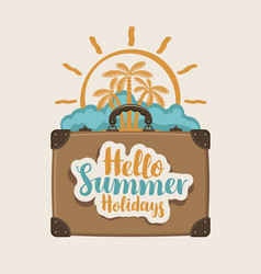 Summer travel banner with suitcase palms and sun vector