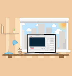 video blog in laptop screen flat vector image