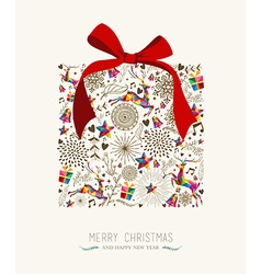 Vintage Christmas gift greeting card vector