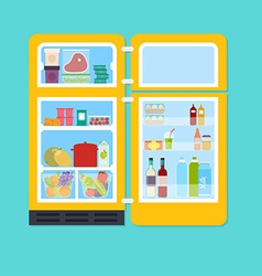 Vintage yellow open refrigerator full of fresh vector image