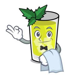 Waiter mint julep mascot cartoon vector