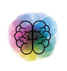 Watercolor mental health smart brain icon vector