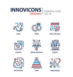 wedding - modern line design icons set vector image
