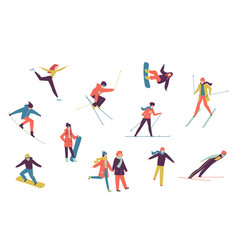 Winter sport people including ice skater vector