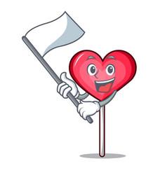 With flag heart lollipop mascot cartoon vector