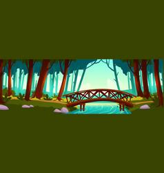wooden bridge crossing river in forest vector image