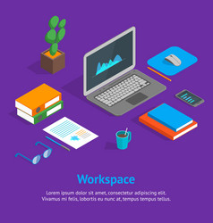 workspace concept and elements 3d isometric view vector image