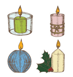 candles color set hand draw sketch vector image vector image