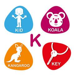 cute alphabet in k letter for kid koala vector image vector image