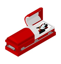 Death of Dracula Vampire Count in an open coffin vector image vector image