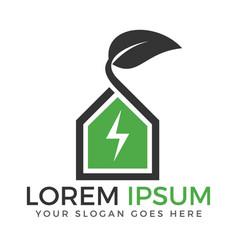 Green leaf flash logo vector