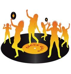 orange dancing on vinyl vector image