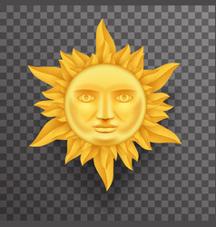 antique golden sun face crown of flames realistic vector image vector image