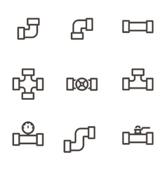 line pipe fittings icon set vector image