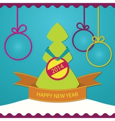 New year greeting card christmas tree vector image vector image