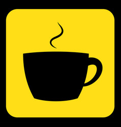Yellow black information sign - cup with smoke vector