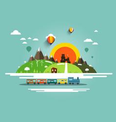 flat design landscape with steam train old castle vector image vector image