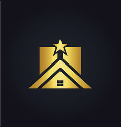 gold home icon star realty logo vector image vector image