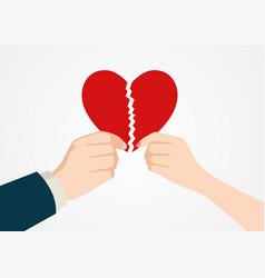 hands tearing apart heart symbol vector image