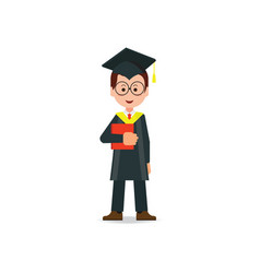 happy student graduated wearing mortar board hat vector image