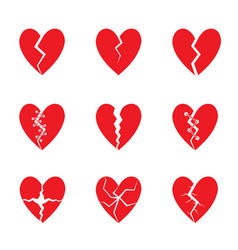 red heart set vector image