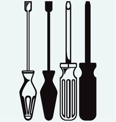 Slotted and phillips screw driver vector image vector image