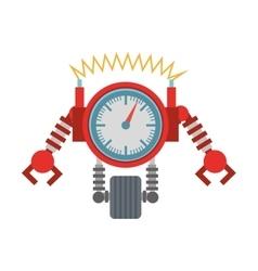 clock robotic machine pincers arms wheel vector image