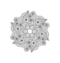 deco black floral mandala patterned design vector image vector image