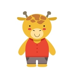 Smiling Giraffe In Red Top And Brown Pants Cute vector image