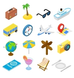 Travel isometric icons set vector image vector image
