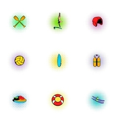 Water stay icons set pop-art style vector image vector image
