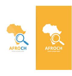 Africa and loupe logo combination safari vector