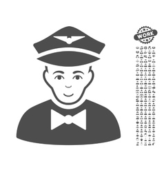 Airline Steward Icon With Bonus vector