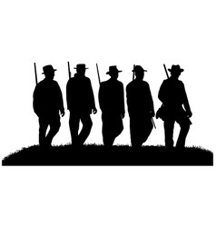 American civil war soldiers silhouettes vector