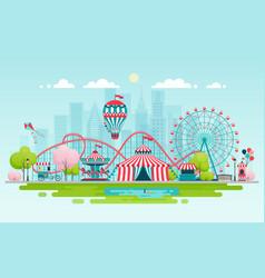 amusement park urban landscape vector image