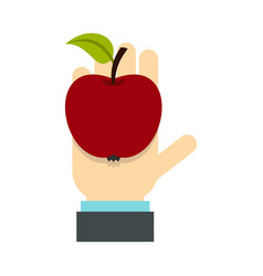 Apple in hand icon flat style vector