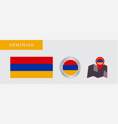 Armenian horizontal tricolor flags are isolated vector